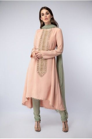 8947bc5ae7 Payal Singhal New Arrivals Collection : BLUSH EMBROIDERED YOKE KURTA WITH  CHURIDAAR AND DUPATTA