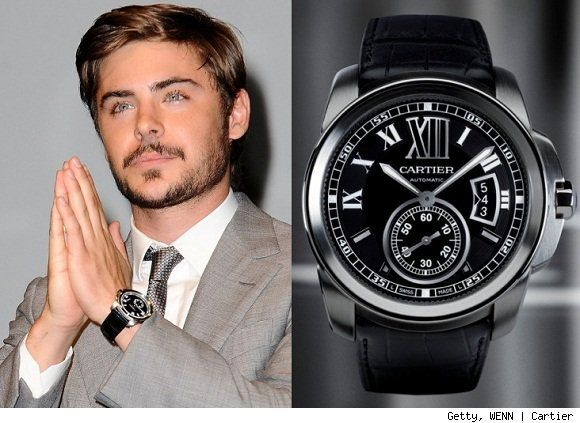 Actor zac efron was recently spotted wearing cartier 39 s newer calibre men 39 s watch while at the for Celebrity watches male