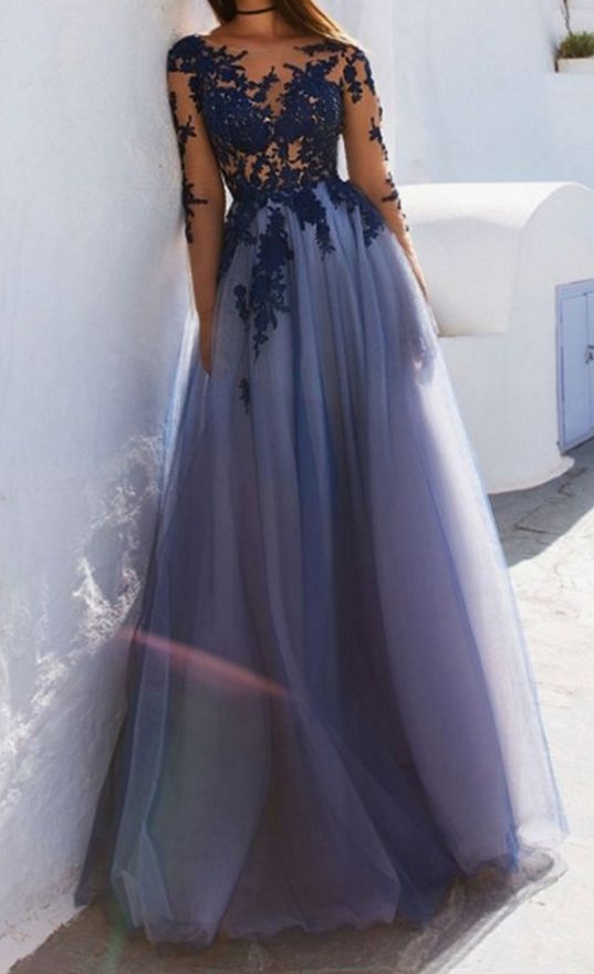 Charming ,Long Sleeve ,Appliques ,Sexy Prom Dress,See Though