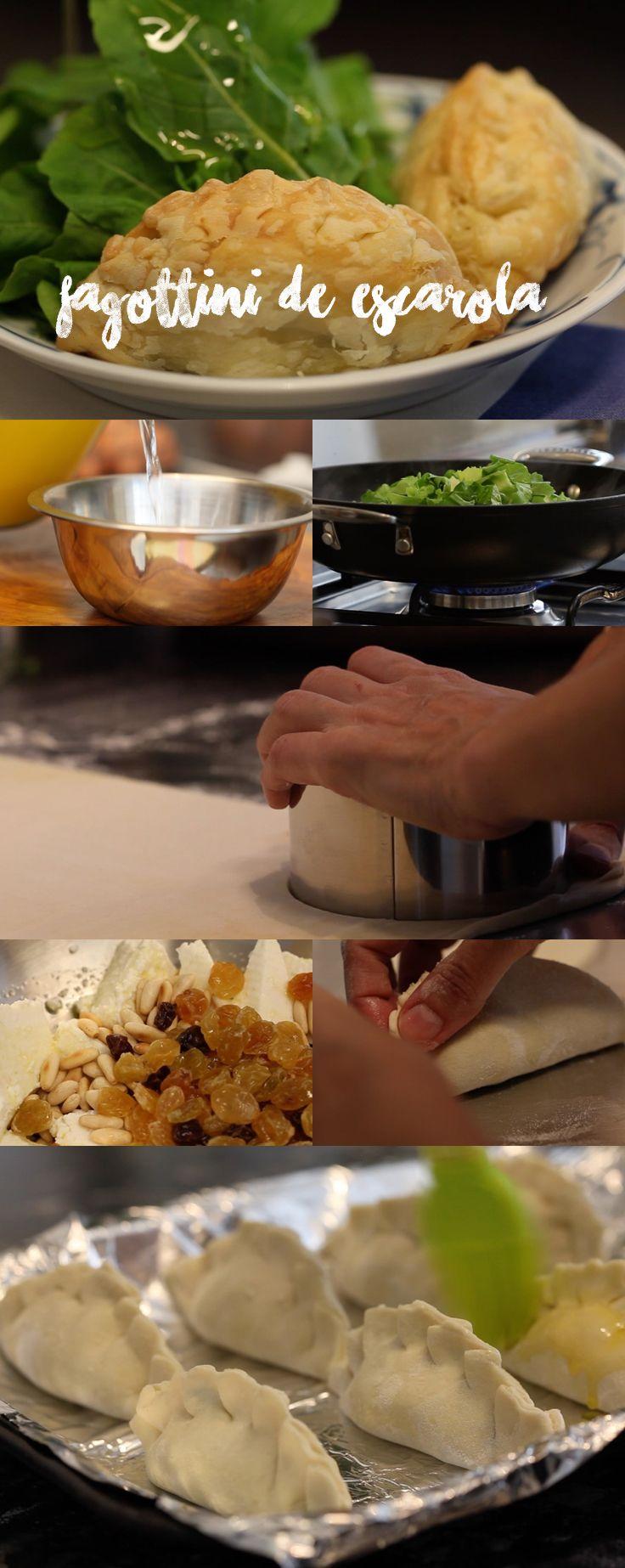 Receita saborosa, crocantes e que faz um super sucesso! Fagottini feito com massa folhada de pastel, você pode optar por escarola ou espinafre. Veja mais receitas em www.myyellowpages.com.br