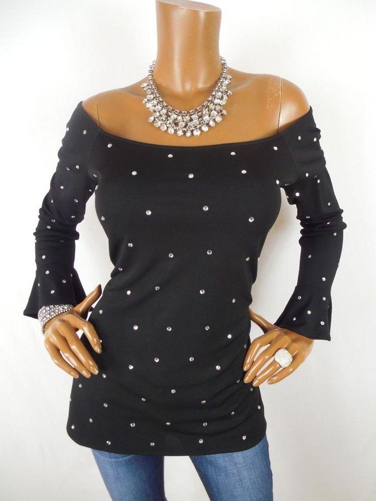 BLOOMINGDALES Womens Top M SEXY Black Tunic Shirt Off Shoulder Blouse Long Slvs  #Bloomingdales #Blouse #Casual