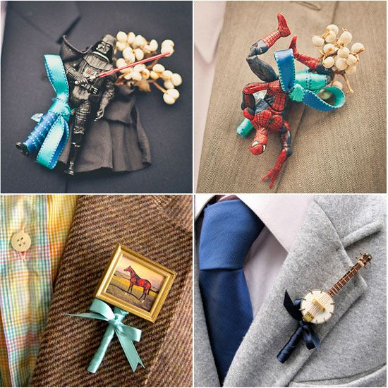 Why not choose non-floral boutonnieres that reflect your man's hobbies and interests? They won't wilt like standard flower bouts AND your hubby will score some major man cred, which admittedly is not super easy to do at wedding celebrations.