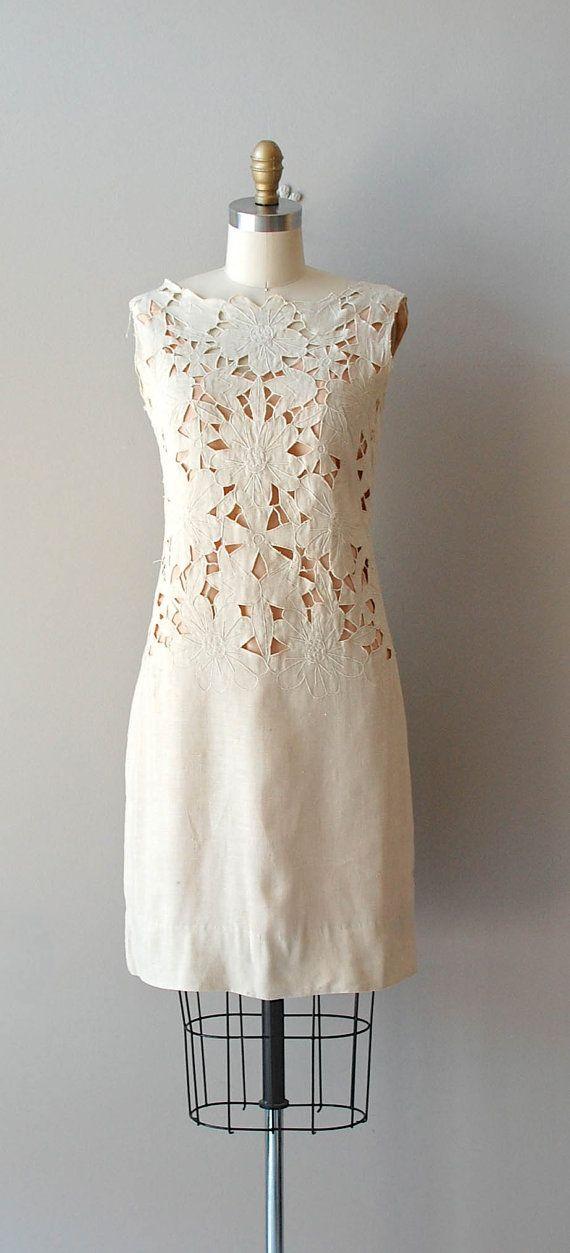 1960s dress / 60s linen cutout dress /