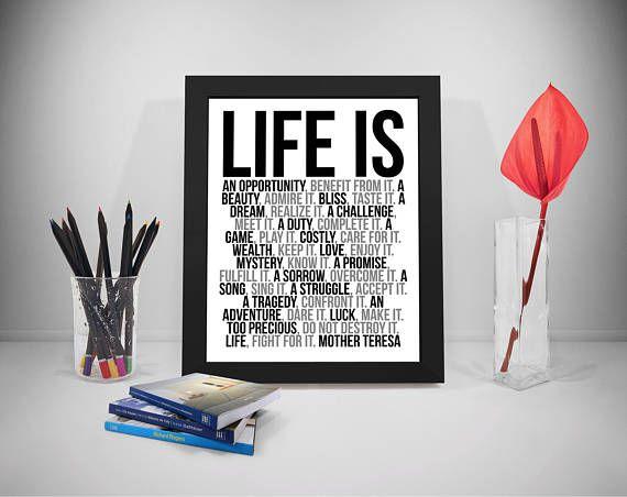 Life Is Printable Quotes Mother Teresa Sayings Life Print