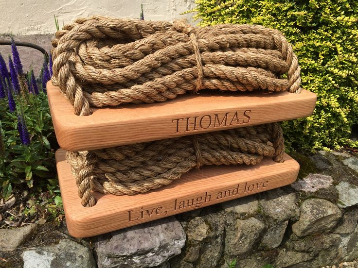 Personalised Oak & manila rope garden swings ready to go to there new owner.