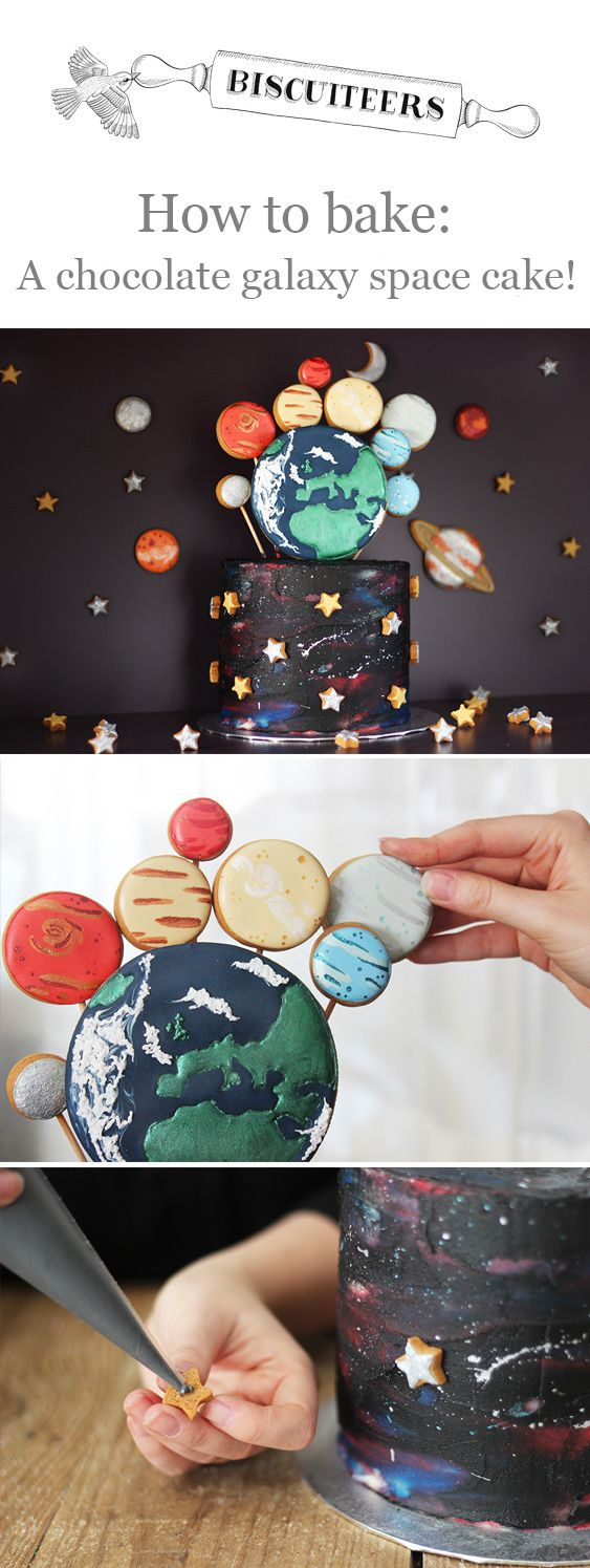 Want to know how to bake this very exciting #galaxy #space cake? Complete with biscuit pops decorated to look like planets. It's out of this world!
