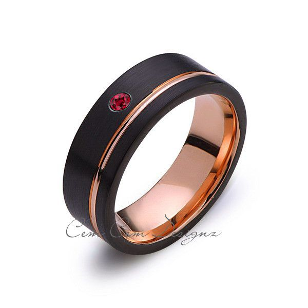 8mmmensred rubyblack brushedrose goldtungsten ring for Mens wedding rings with birthstones