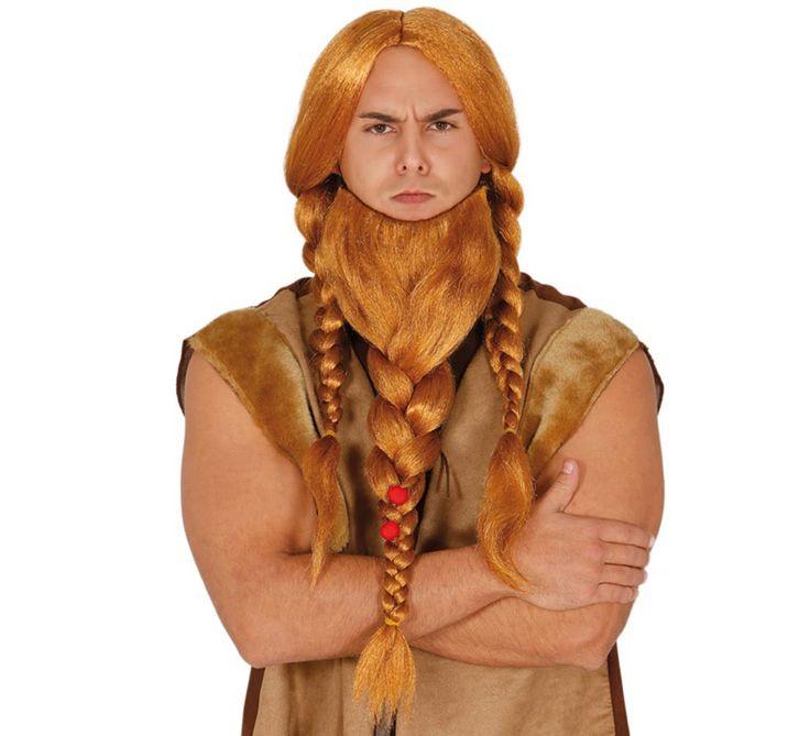 Peluca con trenzas y barba pelirroja de Vikingo. Complemento ideal para nuestros disfraces de bárbaro, vikingo o guerrero escocés o irlandés de la edad media.