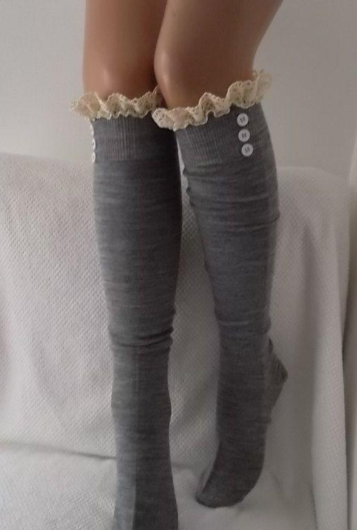 Gray Socks Boot socks boot cuffs leg warmers lace by CarnavalShop