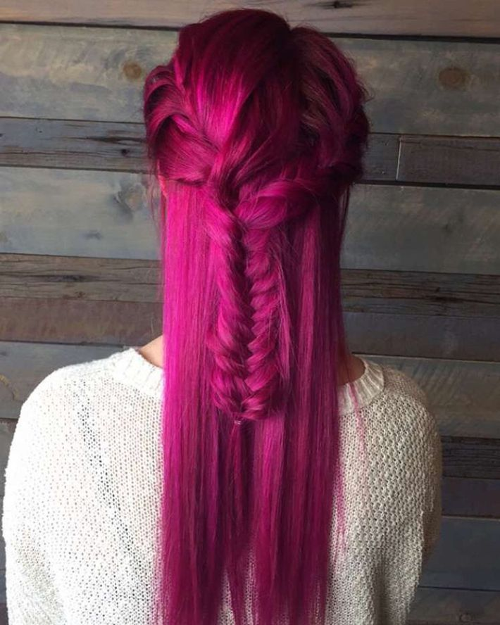 Magenta Hair In Half Up Hairstyle