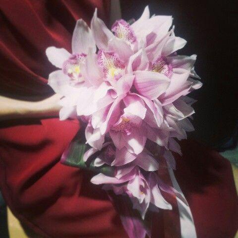 Handbouquet pink cymbidiums