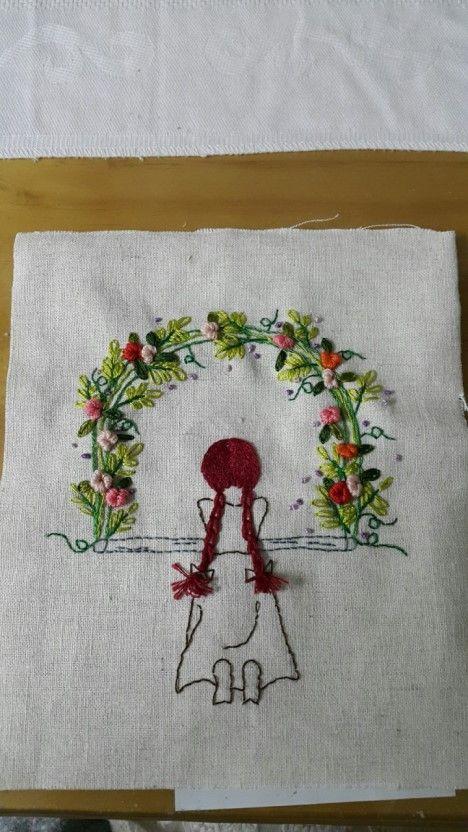 뜨개자수쿠션/빨간머리앤