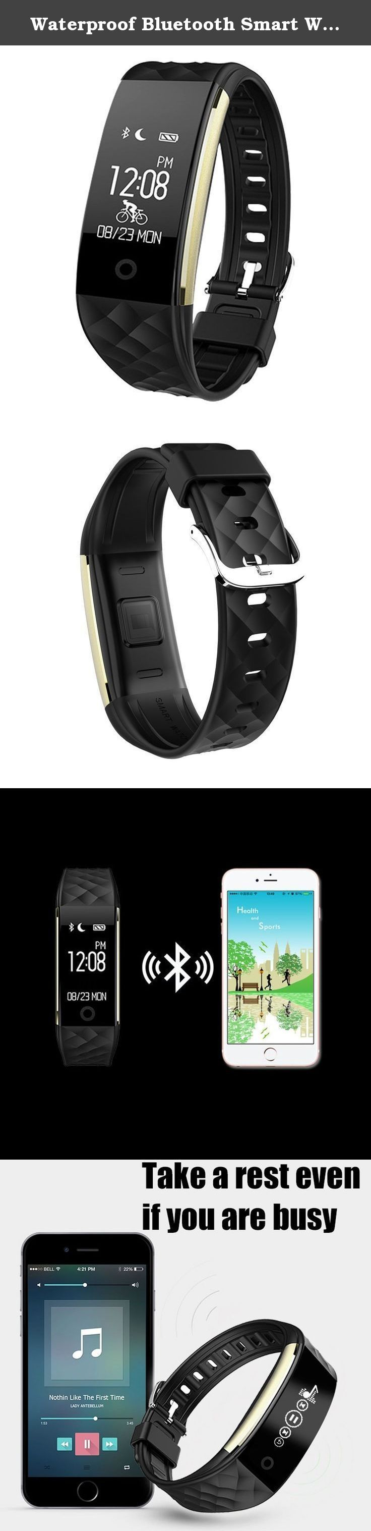 Waterproof Bluetooth Smart Wear Bracelet with Heart Rate Monitor Pedometer Calorie Tracker, Sleeping monitor Sport Wrist Smart Watch compatible with Android IOS Smartphones (Black). Specification: APK Name: SmartWristBand CPU: BT V4.0 BLE Display: 0.96 inch, 64*128 Acceleration: 3-axis G-sensor Heart rate: Dynamic heart rate detection Battery: 90ma Lithium-ion polymer rechargeable battery Motor: Built-in,remind with vibration Font: Full character display Charge: 5V USB jack, charge by PC…