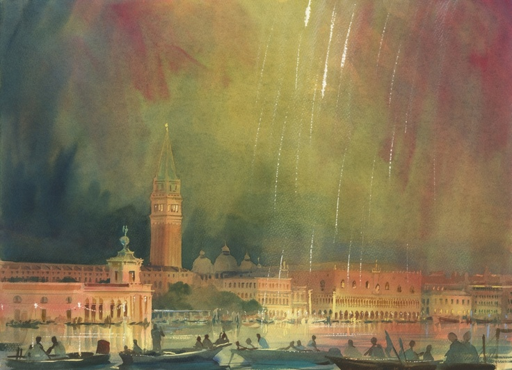 Alexander Creswell - Venice - Redentore Fireworks, Sound Study 2, 2011, watercolor on paper