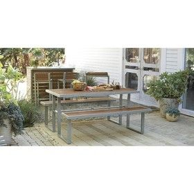 Threshold Bryant Faux Wood Patio Picnic Table Patio Furniture Collection Wood Patio Patio Picnic