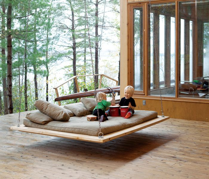 Barnwood Hanging Bed [via Fancy]