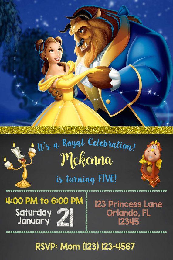 Beauté et la bête Invitation - tableau - Belle invitent - inviter princesse Disney - Princesse imprimables