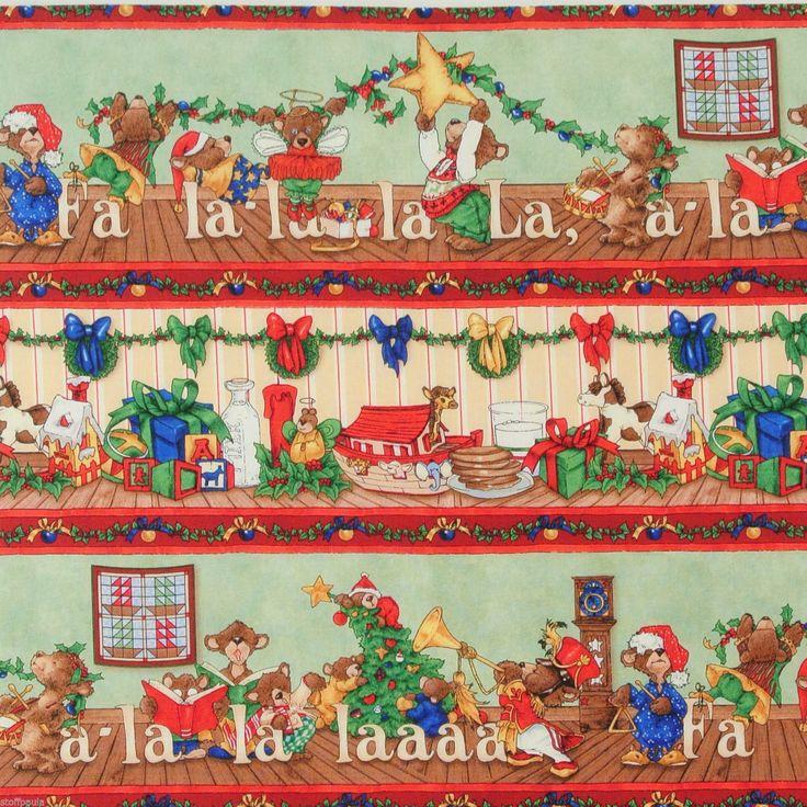 """Kleine Weihnachtsbären (17.00 €/m) """"Night before"""" Bordüre 60x110 cm   eBay"""