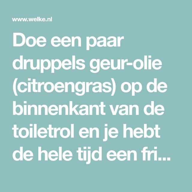 Doe een paar druppels geur-olie (citroengras) op de binnenkant van de toiletrol en je hebt de hele tijd een frisse geur in het toilet of in de badkamer.. Foto geplaatst door everlienpol op Welke.nl