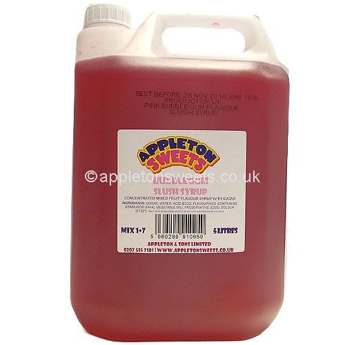 These are a 5 litre large tub of Bubblegum flavour syrup that make great ice cold slush puppies drinks