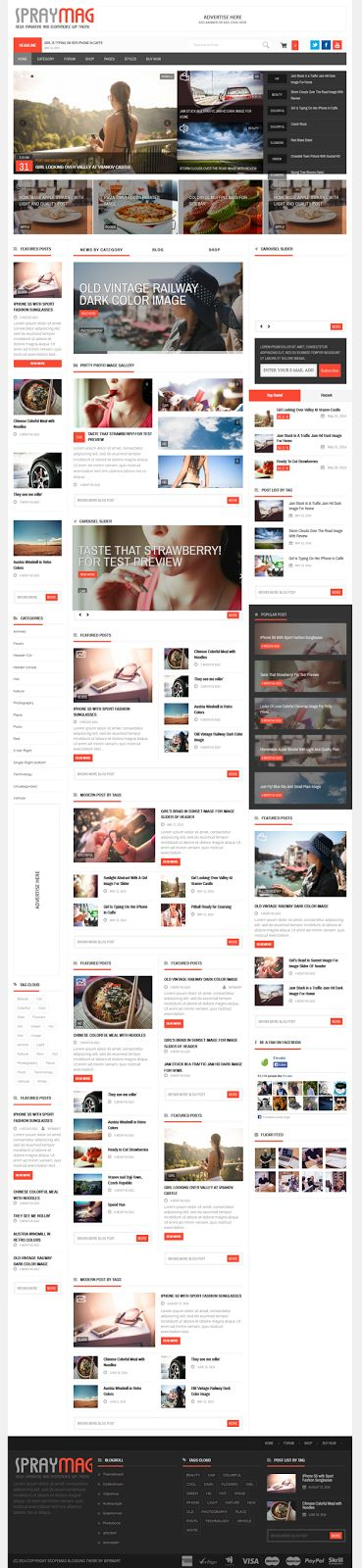 Spraymag news eCommerce #Magazine Responsive Blog Theme #webdesign