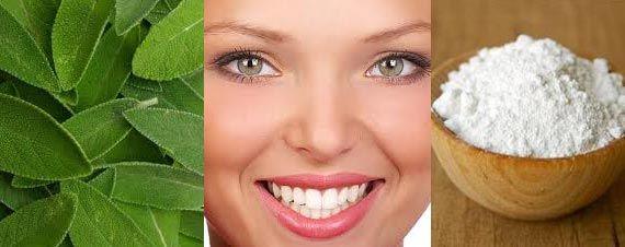 Salvia: storfinarla sui denti - Succo di limone e bicabornato: da usare su spazzolino una volta al mese (acido) - Sale fino e bicarbonato + olio essenziale alla menta piperita: strofinare sullo spazzolino una volta la settimana