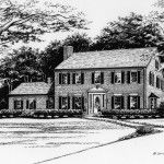 Pen & Ink Illustration of colonial style brick home. Created by Custom House Portraits by Richelle Flecke