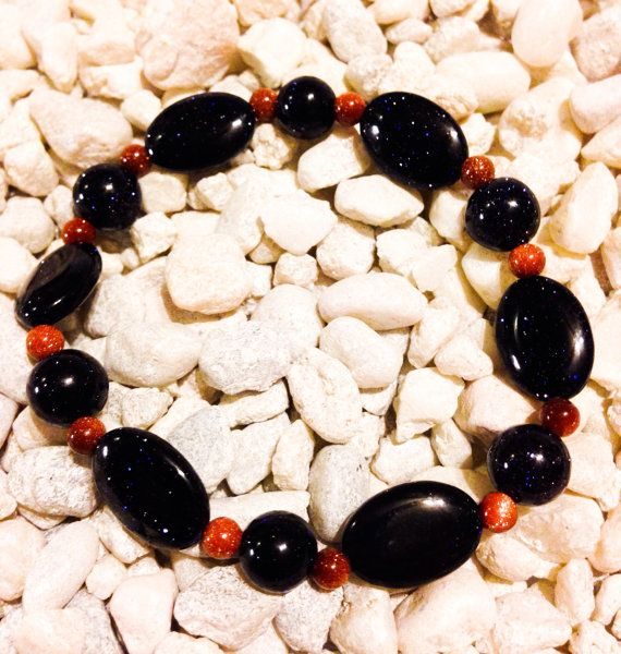 Blue goldstone and goldstone stretchy bracelet by aCamilleCreation