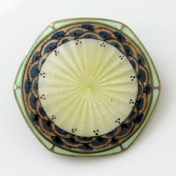 Vintage Sterling Enamel Norway Aksel Holmsen Arts & Crafts Brooch Pin Guilloche
