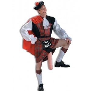 Tendrás la gaita más afinada y grande de escocia con este disfraz de escoces con gaitón.