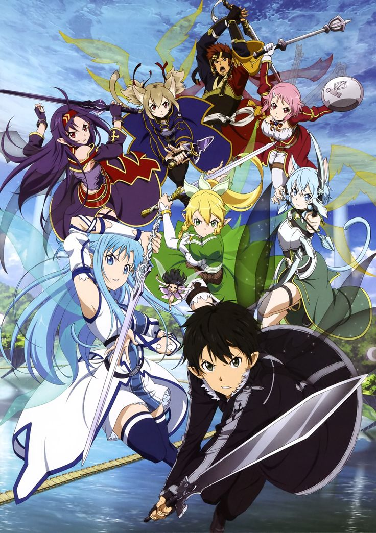 Sword Art Online, official art ll Kirito and his harem! Yes, you're part of it, Klein.