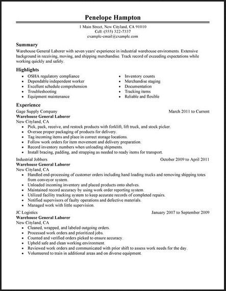 General Labor Warehouse Resume - http://topresume.info/general-labor-warehouse-resume/