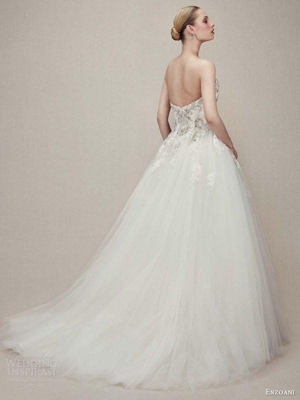 Enzoani strapless lace wedding dress
