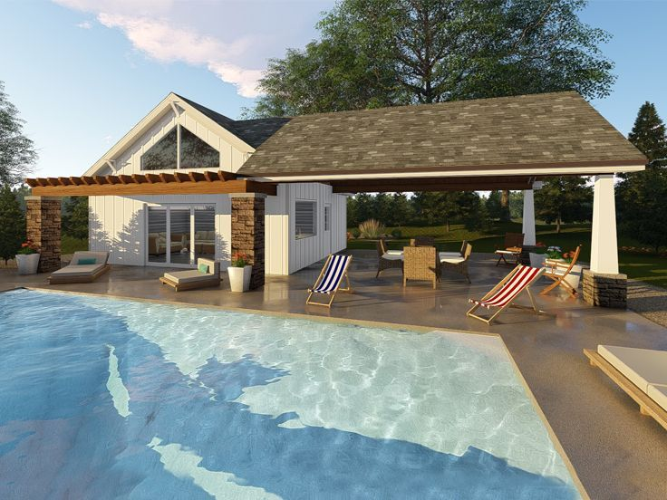 050p 0007 Craftsman Style Pool House With Covered Patio Full Bath Pool House Plans Pool House Designs Pool Houses