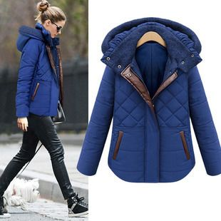 Women Winter Warm Coat Fashion Plaid Hooded Thick Contrast Color Zipper Slim Coat Female Jacket Overcoat Parka Plus Size Jackets