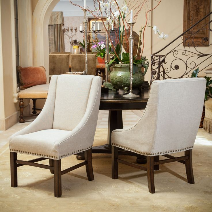 James Fabric Dining Chair (Set Of 2) By Christopher Knight Home (Natural  Fabric