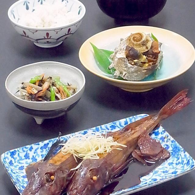 続き  上品で淡白な味ですが、身が締まってうまみが濃く、身離れの良い美味な魚です。 体は赤く胸ビレは青緑。  さざえも京都産の良い物が半額で、衝動買い(^^) ご飯をやめて日本酒を呑まなきゃ! な献立になっちゃいました(^^;;  今日も美味しかった! - 51件のもぐもぐ - 今晩は、ホウボウ煮付け、さざえのつぼ焼き、ひじきと根菜の煮物、豆腐とわかめの味噌汁、雑穀ご飯  舞鶴産の小さいホウボウ君と目が合い、一人2匹づつ煮付けに。  殿様が愛でた魚「君魚」のホウボウは、淡雪が降る時期がおいしいと言われる様に冬が旬のきれいな白身の魚。 上品で淡白な味ですが、身が締まってうまみが濃く、身離れの良い by akazawa3