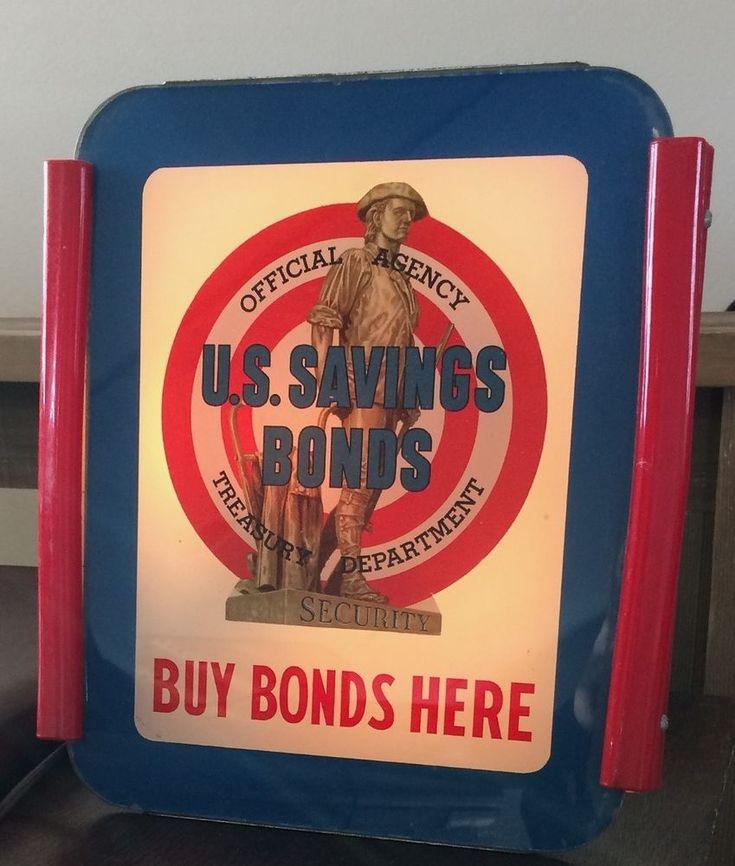 VINTAGE Electric OHIO ADVERTISING Sign Co 1940s WWII U.S. Savings Bonds Treasury #OhioAdvertisingDisplayCo