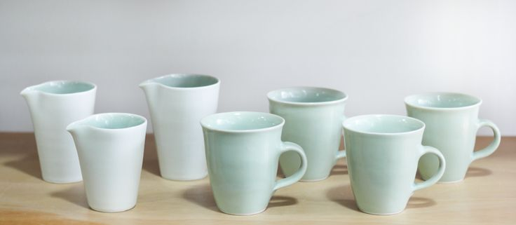 Jill Bagnall porcelain cups and jugs at Vessel