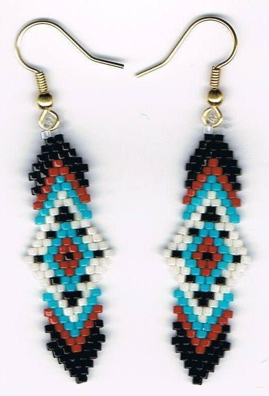 Hand Beaded Native American design earrings by beadfairy1 on Etsy, $9.00