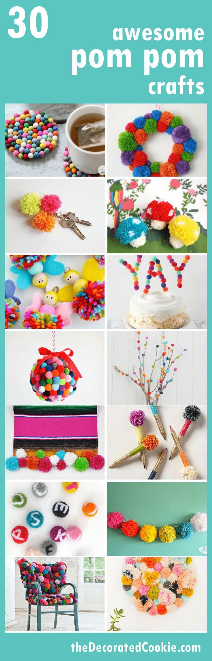 a roundup of 30 awesome POM POM crafts