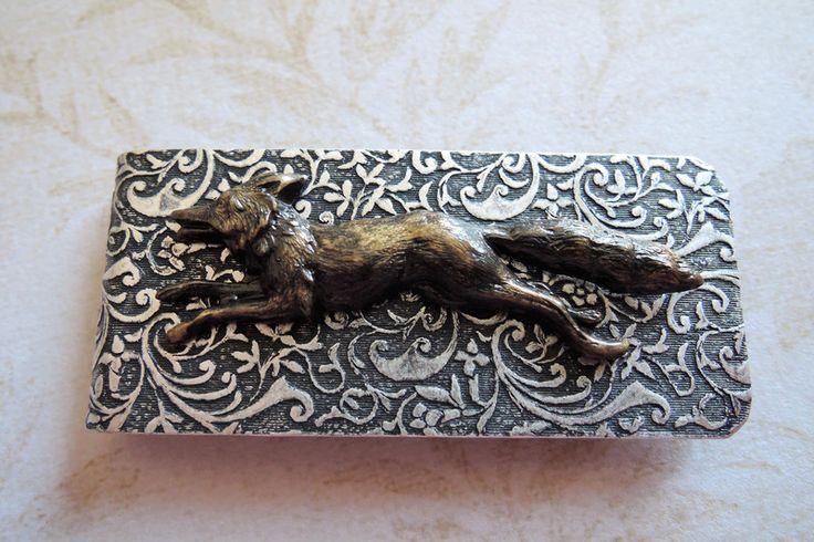 Portemonnee heren - Fox Money Clip Silver Money Clip Brass Fox - Een uniek product van MadamebutterflyMeagan op DaWanda