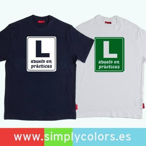 Camisetas papa en practicas y abuelo en practicas. Regalos personalizados para los abuelos y para el Día del Padre.