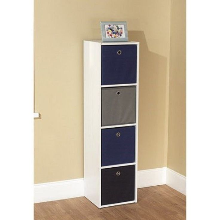 Utility Bookcase Tower Shelf 4 Fabric Storage Organizer Bins, Multiple Colors #TMS