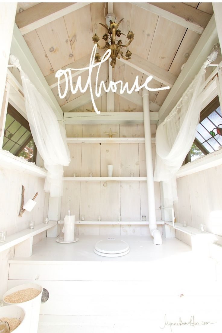 How To Build An Outhouse A Really Pretty One Designing Designers Designershoes Designdeinteriores D Building An Outhouse Outhouse Bathroom Outhouse Decor