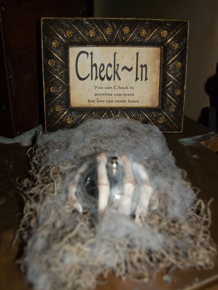 Halloween haunted house / party decor: Check In sign - you can check out any time you want but you can never leave!