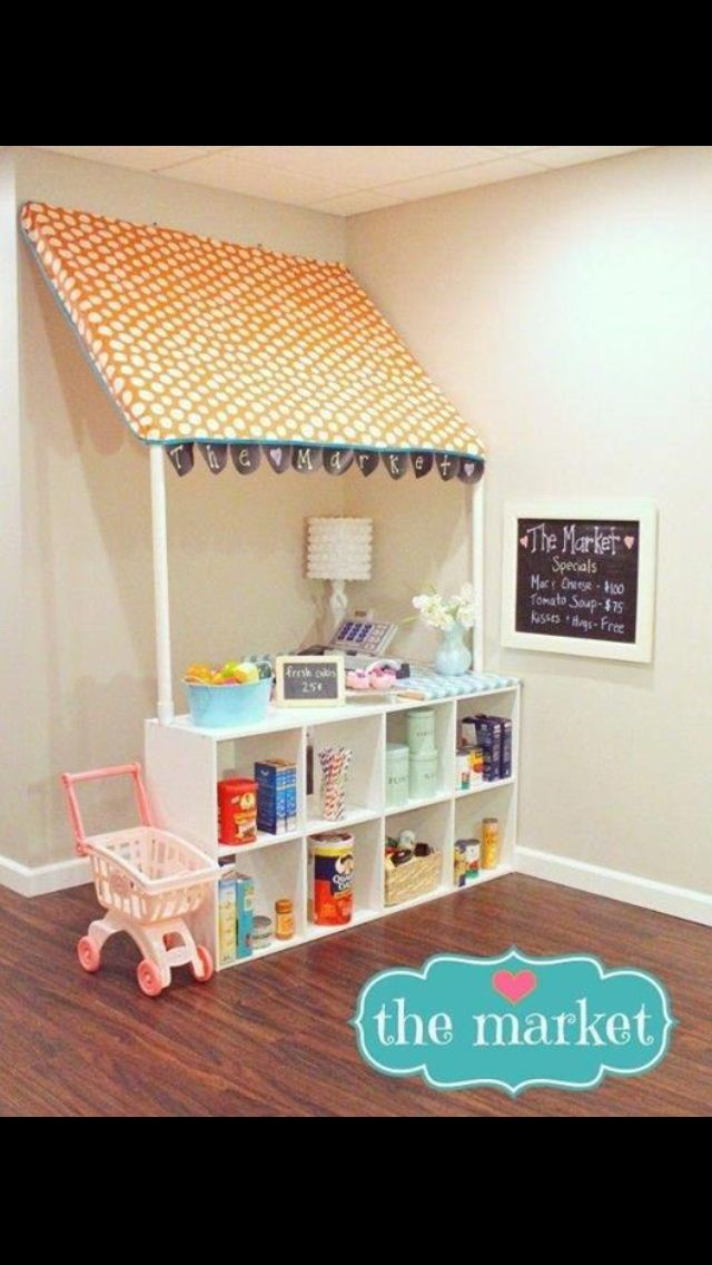 Create a market in your playroom complete with the grocery items you have finished off. This true-to-life, hands-on market makes a productive paly environment, complete with educational opportunities.