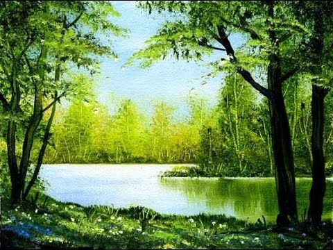 Green Spring (4x6) / Small & Simple Oil Painting Exercise - YouTube