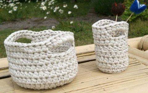 Croched baskets, free pattern (Swedish)