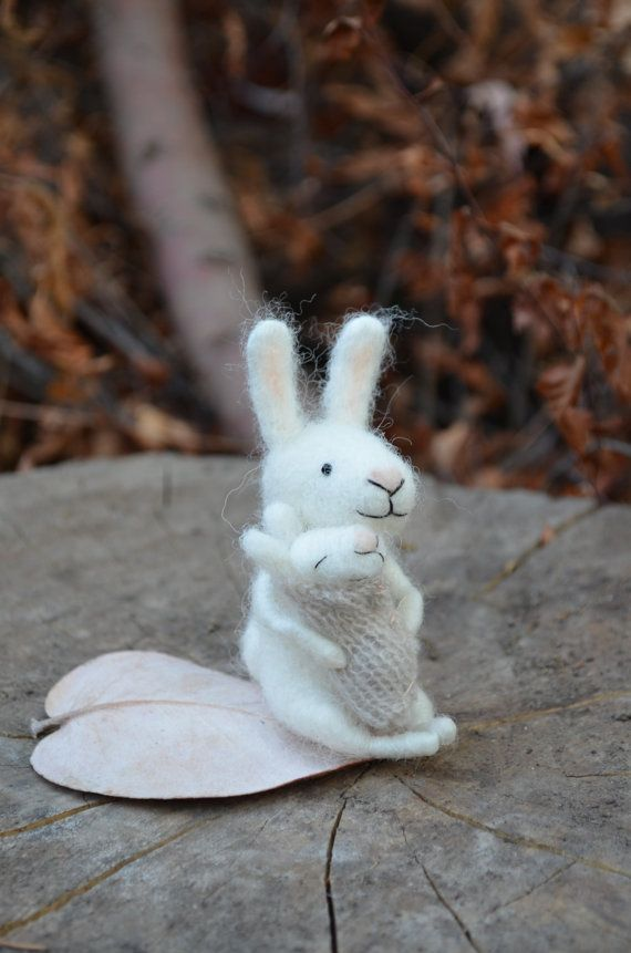 Mom and baby bunny   needle felted ornament by feltingdreams, $58.00
